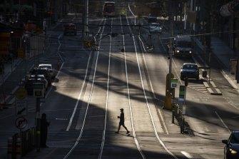 Melbourne's CBD in lockdown.