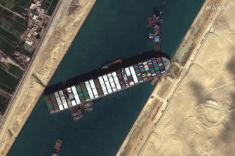 The ship, wedged in the Suez Canal.