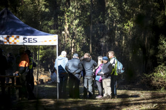 Locals join the search on Tuesday.