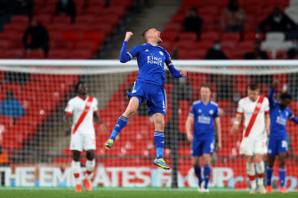 Jamie Vardy celebrates Leicester's victory at Wembley.