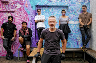 Paul Kasteel, centre, of Hoo Haa bar and Miss Kuku restaurant with his staff. From left, Arundeep Singh, Percy Pompeia, Bruno Grasseschi, Yoko Hayasaka, Patrick Johnson.