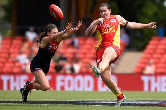 Sarah Perkins shows off her clean foot skills.