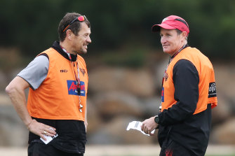 Worsfold with one of his assistants, Mark Harvey.