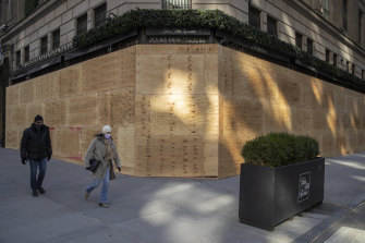 The boarded-up Saks Fifth Avenue shop in New York.