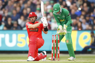 Aaron Finch of the Renegades is bowled by the Stars' Adam Zampa in their Big Bash League clash on Saturday night.