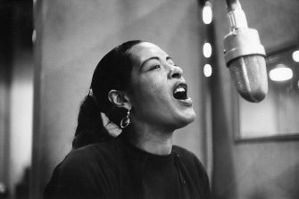 Billie Holiday recording in New York in 1957.