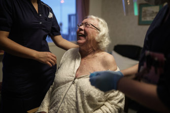 Auslag Westling, a resident at a Swedish nursing home, gets the Pfizer-BioNtech COVID-19 vaccine on January 7.
