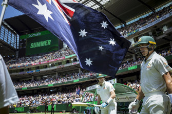 Steve Smith and Marnus Labuschagne take the field during last year's Boxing Day Test.