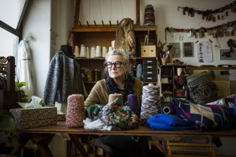 Creative village: handweaver Mary Burgess in her Nicholas Building studio.