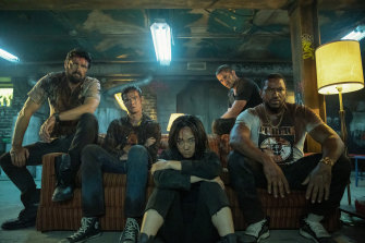 The Boys (from left): Butcher (Karl Urban), Hughie (Jack Quaid), Kimiko (Karen Fukuhara), Frenchie (Tomer Capon) and Mother's Milk (Laz Alonso).