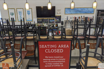 An indoors sitting bar is closed inside the Gelson's Market in Los Feliz neighbourhood of Los Angeles earlier in March.