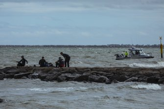 Police searched the water off Altona beach on Saturday afternoon.