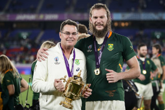 Rassie Erasmus after winning the 2019 Rugby World Cup in Japan.