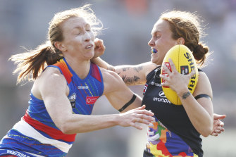 Tilly Lucas-Rodd, left, is among AFLW players who have expressed concern over the future of the competition.
