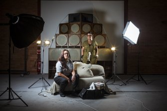 Fiona Bourne and Yasmin Rupesinghe, aka Housewife's Choice, with their 14-piece sound system.