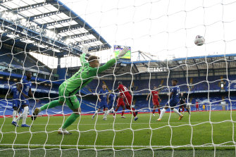 Sadio Mane scores for Liverpool.