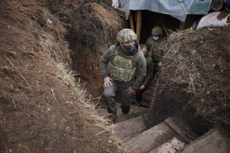 Ukrainian President Volodymyr Zelensky visits the war-hit Donbas region, eastern Ukraine last week.  An escalation of tensions with Russia in the area has raised fears of a resumption of large-scale hostilities.