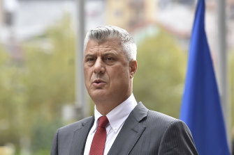 Kosovo President Hashim Thaci addresses the nation to announce his resignation to face war crimes in The Hague.