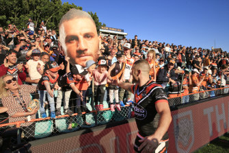 Robbie Farah's farewell lap at Leichhardt Oval last September.