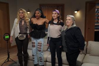 Busy Philipps, Renée Elise Goldsberry, Sara Bareilles and Paula Pell in Girls5eva.