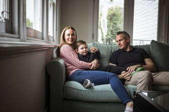 Caley and Paul Bridgewater with three-year old son Hugo, who was born through IVF.