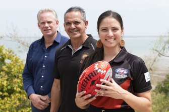AFL Northern Territory chairman Sean Bowden, Michael McLean and Northern Territory Thunder's Lateesha Jeffrey are backing the bid.