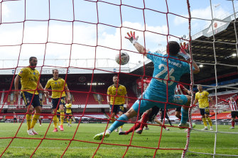David McGoldrick scores for Sheffield United against Arsenal, but it wasn't enough to see secure victory at Bramall Lane.