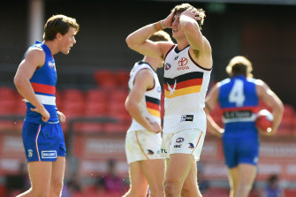 A dejected Jake Kelly during the Crows' loss.