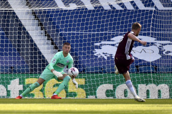 Jamie Vardy scores from the spot for Leicester City against West Bromwich Albion at the Hawthorns on Sunday.