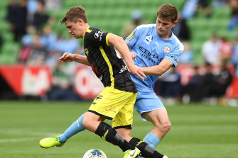 Melbourne City's Connor Metcalfe (right) is among Olyroos call-ups that have left Erick Mombaerts frustrated.