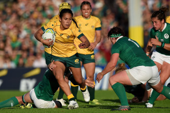 Rugby convert Kayla Sauvao's footwork is reminiscent of the Rooster's dual premiership-winning men's side.
