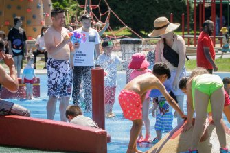 People cool off at a water park in Vancouver, British Columbia, Canada on Sunday.