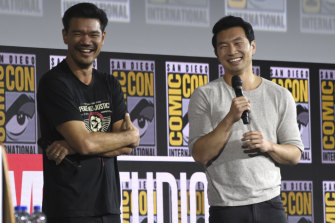 Director Destin Daniel Cretton, left, and Simu Liu, who stars in Shang-Chi and The Legend of the Ten Rings .