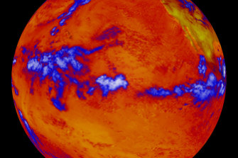 A false-colour image from 2001 showing where more or less heat, measured in long-wave radiation, was emanating.  The thermal radiation leaving the oceans is fairly uniform. The blue represent thick clouds, the top of which are cold.