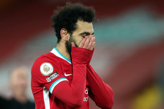 Liverpool star Mohamed Salah reacts to the Reds' first home Premier League defeat in almost four years.