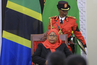 Tanzania's new president Samia Suluhu Hassan is sworn in at State House in Dar es Salaam.