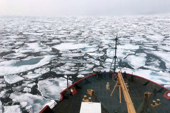 Breaking up: The US Coast Guard Icebreaker Healy on a research cruise in the Chukchi Sea of the Arctic Ocean.