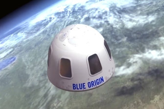 An illustration provided by Blue Origin shows the capsule that the company aims to take tourists into space.