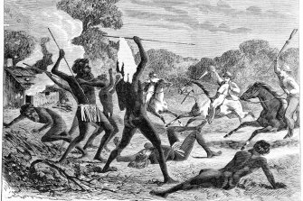 """An 1867 image by Samuel Calvert from the Illustrated Melbourne Post, depicting Aboriginals and white settlers """"in battle""""."""