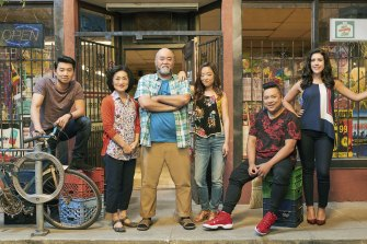 Simu Liu, Jean Yoon, Paul Sun-Hyung Lee, Andrea Bang, Andrew Phung and Nicole Power in Kim's Convenience.
