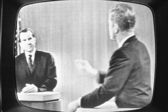 US Vice-President Richard Nixon (left) faces Senator John F. Kennedy in one of four presidential debates in 1960. The election saw the first televised debates in US history.