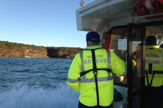 Search crews looking for the missing 42-year-old man in Gillards Beach, near Tathra, on Thursday.