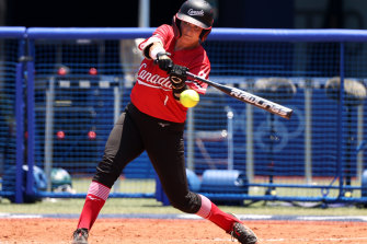 The Canadian bats, including that of Kelsey Harshman, were firing against Australia.