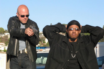 Michael Chiklis, left, in The Shield.