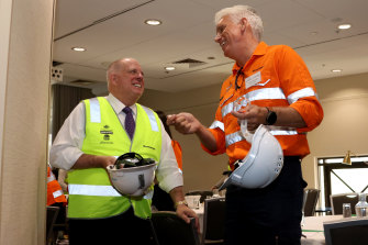Maryland Governor Larry Hogan (left) and Transurban CEO Scott Charlton on a tour of Transurban's WestConnex construction site in Sydney during Hogan's 2019 visit to Australia.