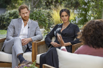 Prince Harry and Meghan during their interview with Oprah Winfrey.