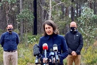 Premier Gladys Berejiklian, Minister for Energy and Environment Matt Kean and Minister for Western Sydney Stuart Ayres at the daily COVID-19 briefing on Sunday.