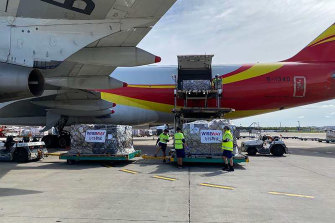 A cargo plane carrying more than 70 tonnes of personal protective equipment and ventilators arrives in Sydney on April 8.
