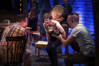 From left: Caesar Samayoa, Jenn Colella and Nate Lueck in Come From Away.