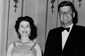 The Queen and president John Kennedy in 1961 at Buckingham Palace, where the Kennedys were dinner guests.